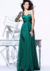Вечернее платье зеленое с кружевным плечом