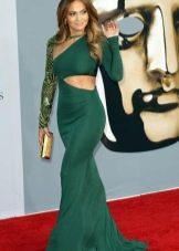 Вечернее зеленое платье с разрезами