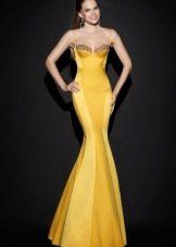 Вечернее платье желтое русалка от Тарик Эдиз