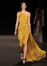 Вечернее платье желтое на одно плечо