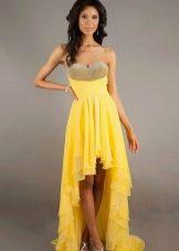 Вечернее желтое платье короткое спереди, длинное сзади