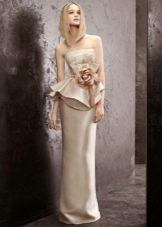 Платье-футляр свадебное атласное