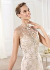атласное свадебное платье расшитое паетками