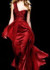 Вечернее бордовое платье на одно плечо