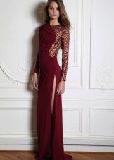 Вечернее платье борового цвета с рукавами