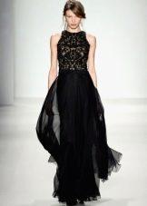 Вечернее платье черное с многослойной юбкой