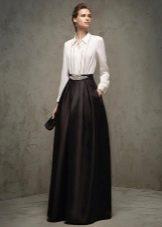 Черно белое вечерне платье