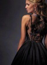 Платье черное вечернее с кружевной спиной