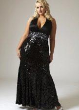 Вечернее платье для полных черное блестящее