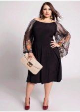 Короткое вечернее платье для полных черное