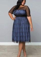 Двухслойное сине-черное короткое вечернее платье для полных