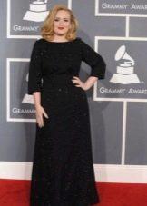 Черное вечернее платье для полных длинное