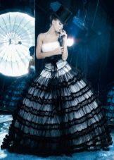Свадебное платье бело-черое