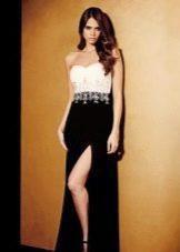Черно-белое дешевое вечернее платье