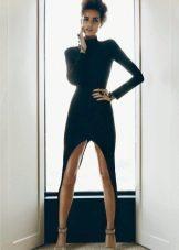 Черное вечернее платье короткое с асимметричным низом