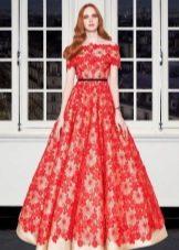 Кружевное вечернее красное платье