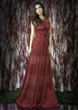 Кружевное красное платье в пол