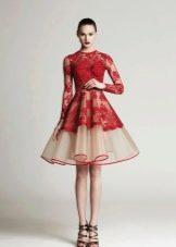 Красно-белое вечернее платье короткое