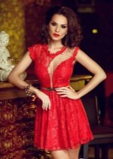 Красное платье мини вечернее