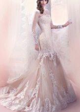 Кружевное свадебное платье русалка от Габбиано