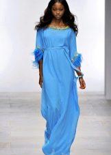 Вечернее платье из шифона голубое