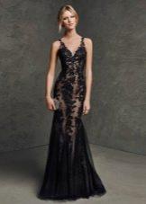 Легкое черное вечернее кружевное платье