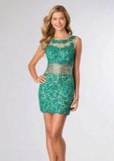 Зеленое вечернее кружевное платье
