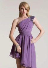 Фиолетовое шифоновое платье со стразами
