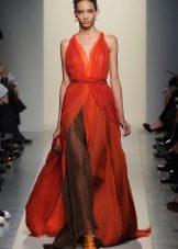 Красное шифоновое легкое платье вечернее