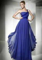 вечернее платье синее с драпировкой в пол