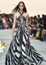 Вечернее платье от Roberto Cavalli с принтом зебры