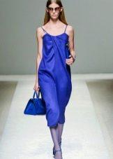 Вечернее платье в бельевом стиле синее