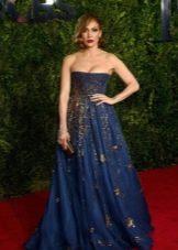 Синее вечернее платье Дженифер Лопес с вышивкой