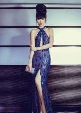 Вечернее платье синее с разрезом
