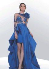 Синее короткое платье со съемной юбкй