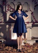 Пышное короткое вечернее платье синее