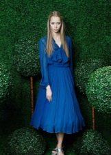 Вечернее синее платье миди