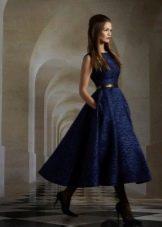 Вечернее синее платье в стиле нью-лук