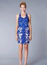 Короткое вечернее платье из синего кружева