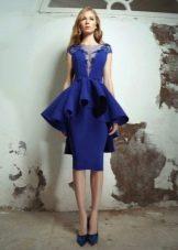 вечернее платье синее с баской миди