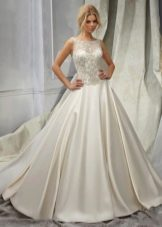 Свадебное платье с кружевным верхом и заниженной талией