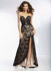 кружевное вечернее платье с разрезом