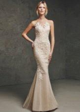 Проновиас бежевое кружевное платье русалка