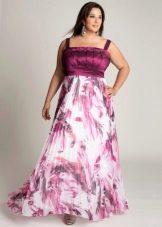 Летнее цветное вечернее платье на свадьбу для полных