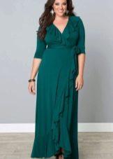 Вечернее трикотажное платье с запахом на свадьбу для полных