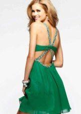 Короткое вечернее платье с перекрещенными лямками на спине