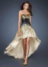 Вечернее платье короткое спереди длинное сзади бежевое с вышивкой