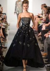 Вечернее платье короткое спереди длинное сзади черное с вышивкой