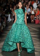 Вечернее платье короткое спереди длинное сзади зеленое