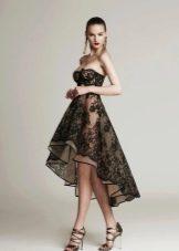 Вечернее платье короткое спереди длинное сзади из черного кружева